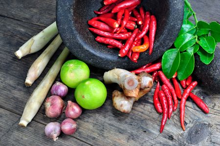 KA: Tom Yum Herbal Ingredients Stock Photo