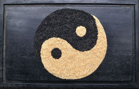 yin yang - made from black and white sesame photo