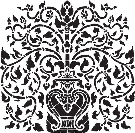 folk art: Antique flower vase pattern Illustration