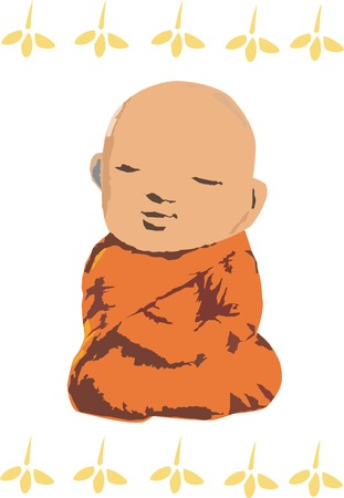 little monk meditation Stock Vector - 8169377