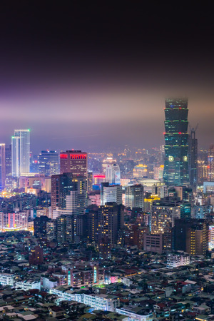 overpopulated: Aerial view of Taipei city at night