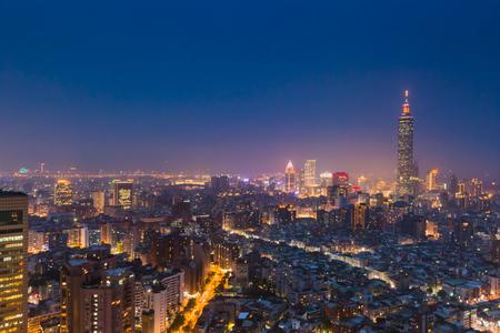 nightfall: Aerial view of Taipei city at night