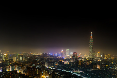 Aerial view of Taipei city at night