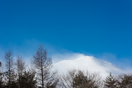 alpenglow: Asama mountain in Japan