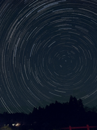 Track of stars in north sky Stock Photo