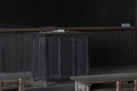 old desk: Old teachers desk Stock Photo