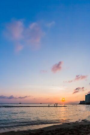 Waikiki beach sunset in Hawaii