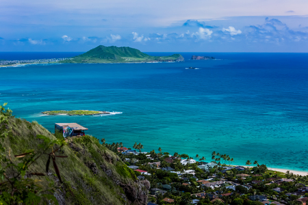 Oahu: Kaiwa Ridge Trail, Kailua in Oahu Island Stock Photo