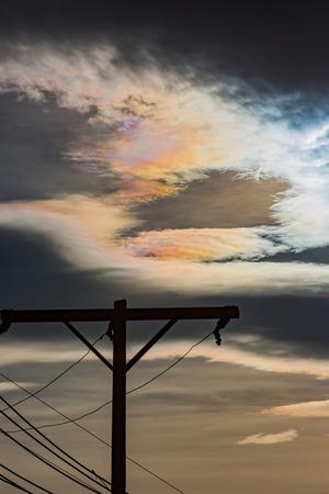 Cloud iridescence in sky Stock Photo