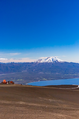 Llanquihue lake from peak of Osorno volcano 스톡 콘텐츠