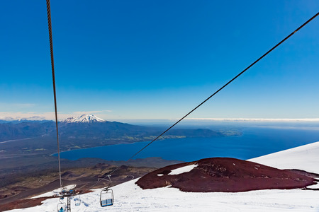 Calbuco volcano from peak of Osorno volcano