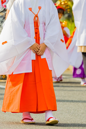japanese young shrine maiden 写真素材