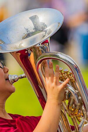 student playing euphonium, music instrucment 写真素材