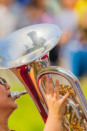 student playing euphonium, music instrucment 写真素材 - 132119575