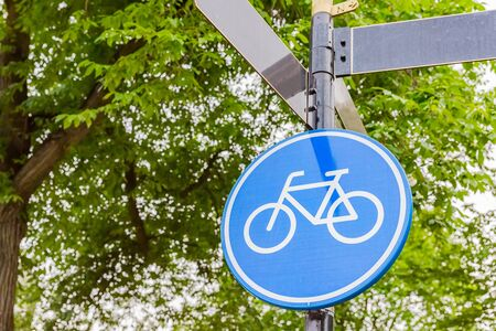 road sign for cycle track in amsterdam