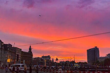 scene of amsterdam city, netherlands