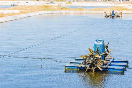 aerator floating on shrimp farming pond