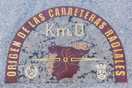 starting point of spanish national road in puerta del so, madorid, spain