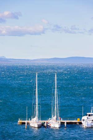 yacht, scenery of hobart harbor in tasmania, australia