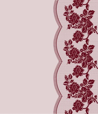 tatting: seamless dark red lace frame with roses