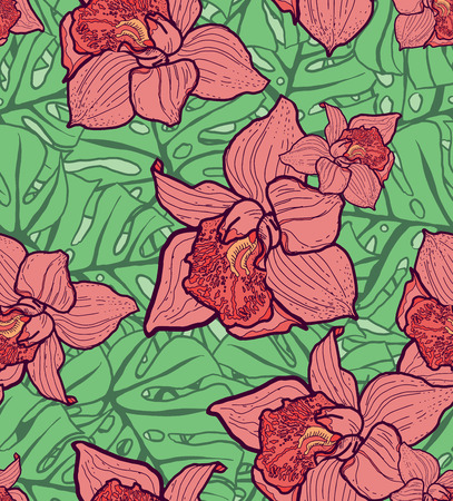 monstera: Colorful seamless pattern with monstera leaves and orchids