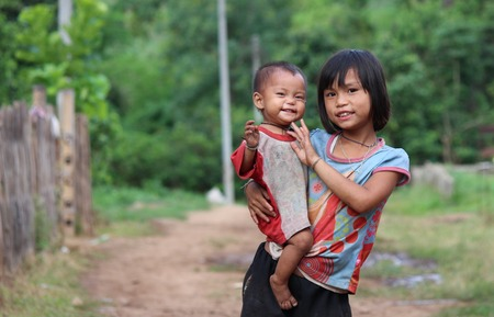 ka: BAAN TEE CHOR CHEE , MAE CHAN, Umphang,TAK, Thailand,, Photo taken July 4,2014,Pa Ka Ka Yor kids in the mountain are smile because they are excited when they saw camera  Editorial
