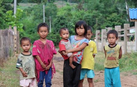 BAAN TEE CHOR CHEE , MAE CHAN, Umphang,TAK, Thailand,, Photo taken July 4,2014,Pa Ka Ka Yor kids in the mountain are standing