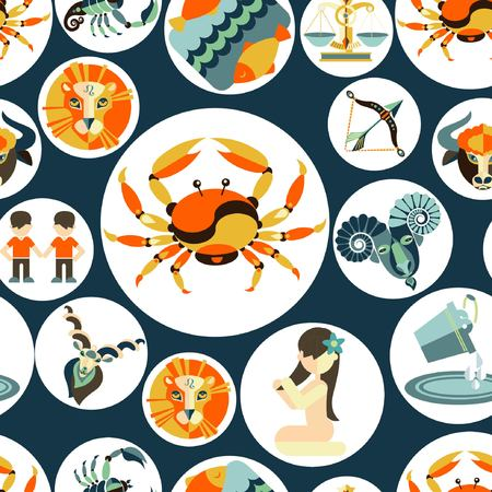 Vector flat pattern with zodiac