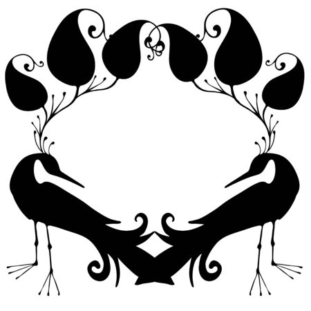 Fabulous Birds and flowers in black and white style. Can be used for printing on paper, stickers, postcards , bijouterie, textiles