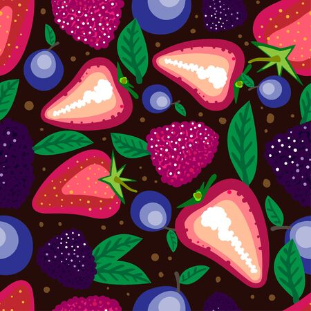 Vector seamless pattern with Forest Berries. Can be used for printing on paper, stickers, postcards , bijouterie, textiles