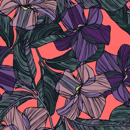 Seamless pattern with abstract flowers. Can be used for textile, stationary, backgrounds and wallpaper.