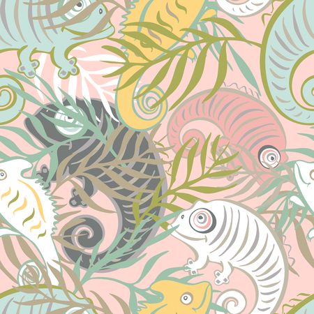 Seamless pattern with a cute and friendly chameleon