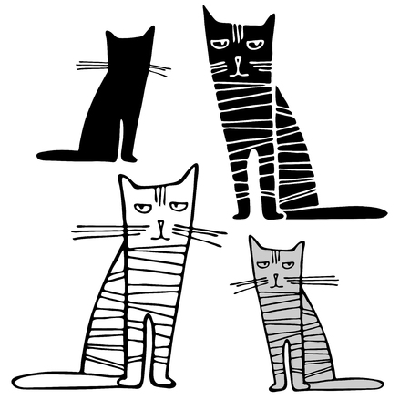 Vector design with stylized cats.