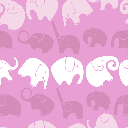 Seamless pattern with stylized elephants