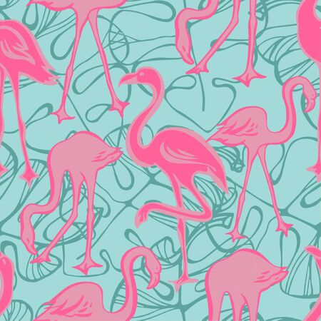 Seamless pattern with flamingos