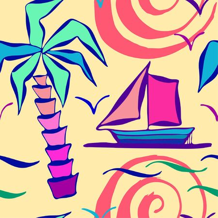 vector seamless pettern with palm, boat and gull Stock Illustratie