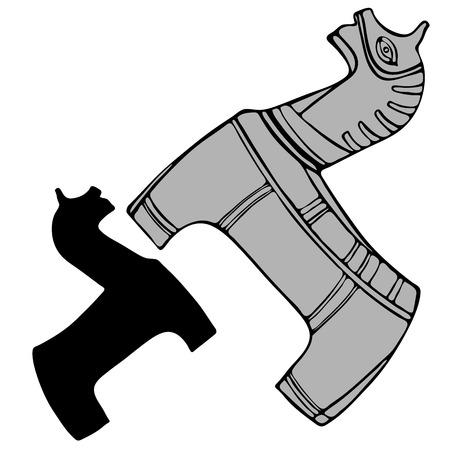 stylised horse isolated on white background. Illustration