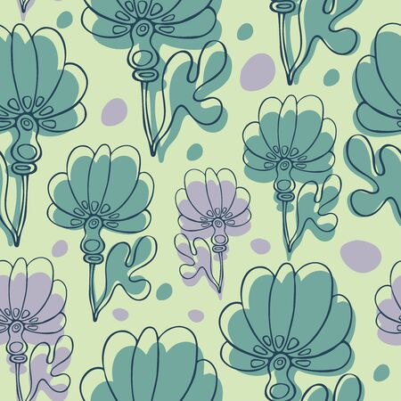 Seamless pattern with abstract flowers illustration.