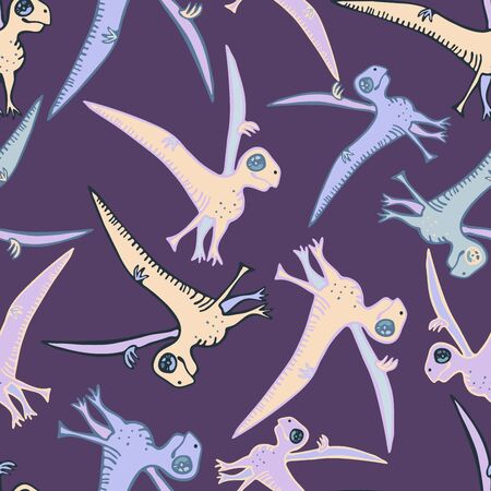 Seamless pattern with stylized ancient animals Vector illustration. Illustration