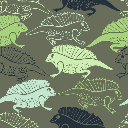 Seamless pattern with stylized ancient animals illustration. 免版税图像 - 98541793