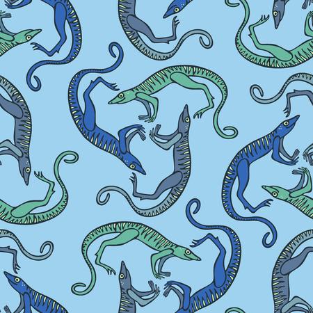 Seamless pattern with stylized ancient animals illustration. 免版税图像 - 98541799