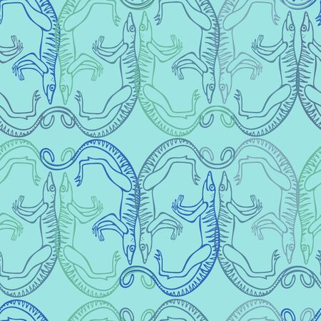 Seamless pattern with stylized ancient animals Vector illustration. Иллюстрация