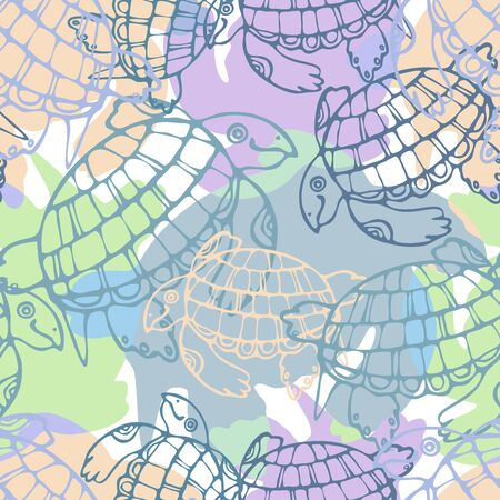 Seamless pattern with stylized ancient animals illustration.