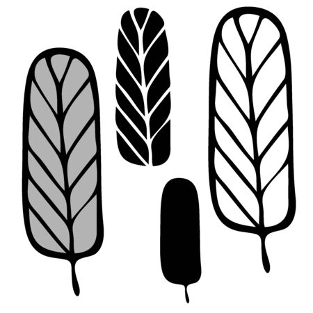 Set of black isolated trees Vector illustration.