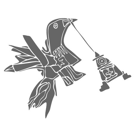 Vector illustration of stylized bird and a birdhouse
