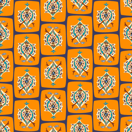 Seamless vector pattern with oriental motifs and ornaments. Illusztráció