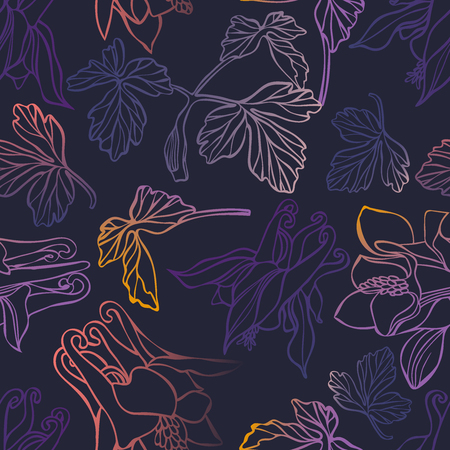 Beautiful botanical vector with flowers watershed.