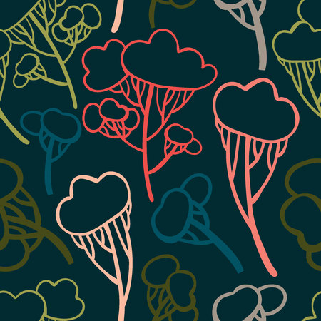 Seamless pattern with stylized trees. Can be used for wrapping paper, textiles and backgrounds