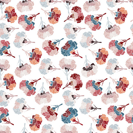 Vector design with clove flowers. Seamless background with pattern flowers. Bright, rich design. Suitable for textiles, sketches and office design wallpaper, wrapping paper, etc. Stock Illustratie