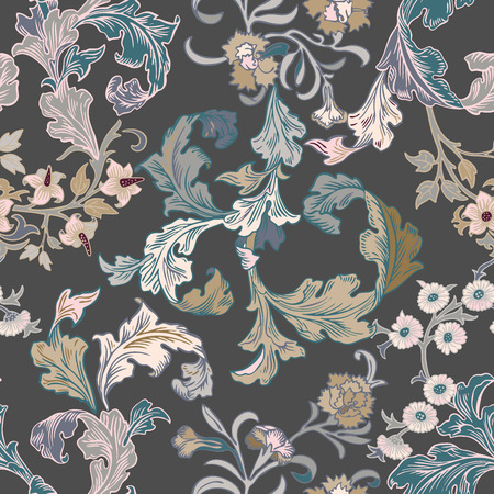 Vector damask seamless pattern element. Classical luxury old fashioned damask ornament, royal victorian seamless texture for wallpapers, textile, wrapping. Exquisite floral baroque template.Old painted style decor design. Vintage classic victorian ornament pattern.